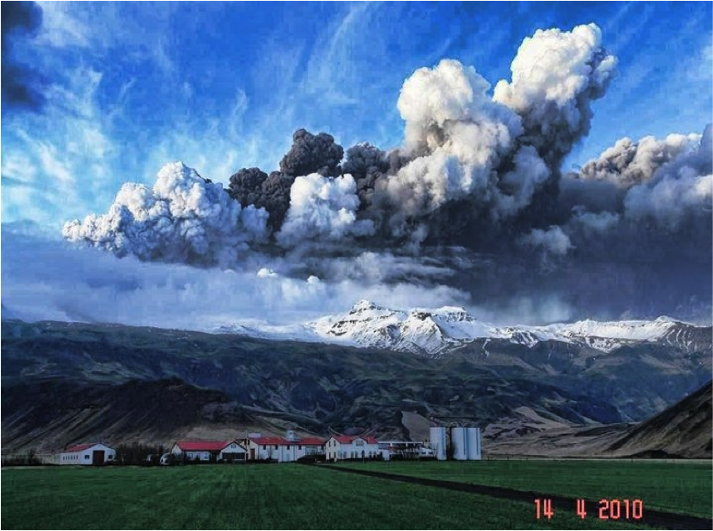 Figura 2 – Erupção catastrófica do Vulcão Eyjafjallajökull (Islândia)