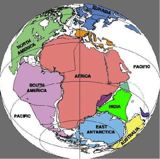 Figura 4 – Configuração aproximada do Grande Continente Pangeia, com destaque para a porção sul (Gondwana)