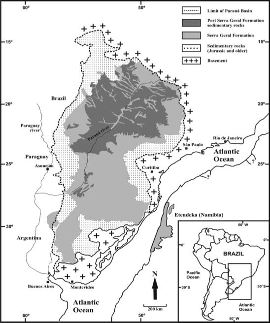Figura 5 – Província Paraná/Etendeka (LIP): destaque para a Formação Serra Geral (território brasileiro).
