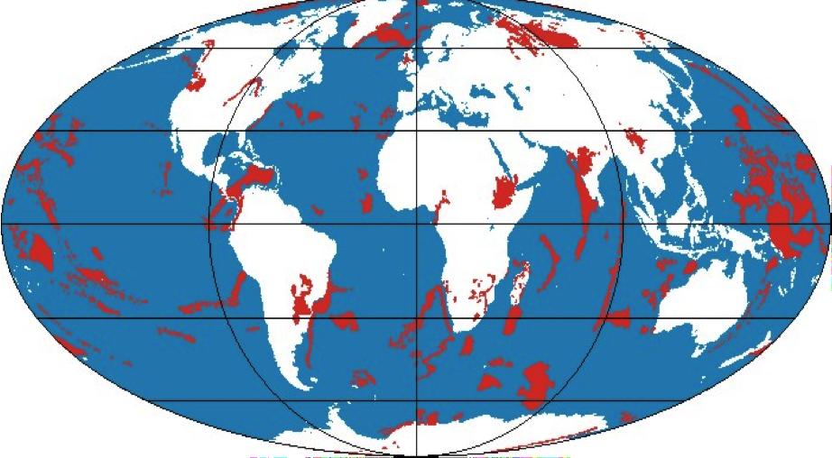 Figura 6 – Principais representações (em vermelho) das Grandes Províncias Ígneas (LIPs): manifestações vulcânicas extraordinárias (associadas a impactos de meteoritos) desenvolvidas durante a Grande Catástrofe.