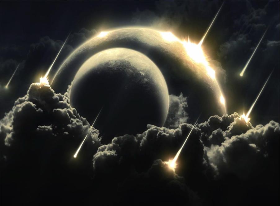 Figura 7 – O Grande Bombardeamento: chuva de meteoritos durante o fanerozóico, responsável pela remodelação da superfície dos corpos do Sistema Solar, especialmente do sistema Terra-Lua.