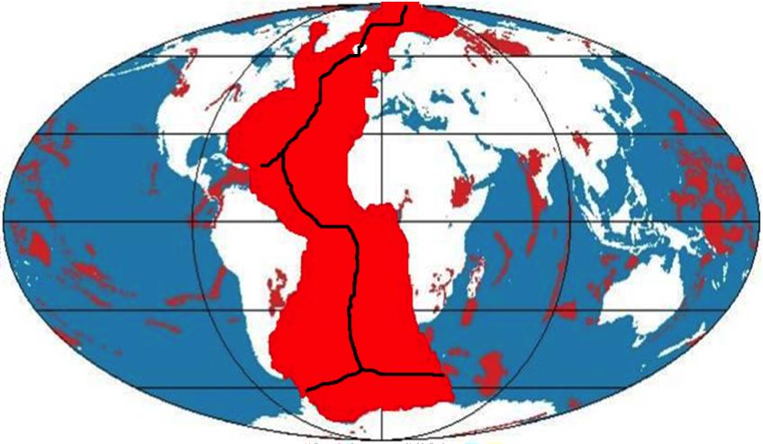"""Figura 8 – A extraordinária """"Província Atlântica"""", formada a partir do extravasamento de gigantescos volumes de lavas, oriundas de um hiper-vulcão linear (cordilheira meso-atlântica)"""